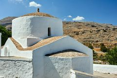 Byzantine church in the town of Lindos. In Rhodes stock photos