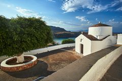 Byzantine church in the town of Lindos. In Rhodes royalty free stock photos