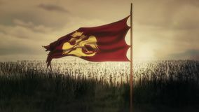 Byzantine eagle of the eastern Roman Byzantine Empire waving flag and army stock video footage