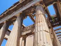 Temple of Hephaestus, Athens, Greece. View of the roof and frieze on the Temple of Hephaestus in the Ancient Agora, Athens, Greece Stock Photos