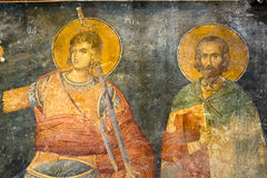 Byzantine fresco. Procopius of Scythopolis and Sabbas Stratelate Stock Photos