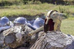 Byzantine helmet. Old Byzantine helmet of an army commander royalty free stock image