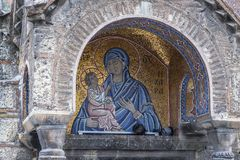 Byzantine icon of Virgin Mary in Athens, Greece. Royalty Free Stock Images