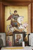 Byzantine iconography inside a cretan church Royalty Free Stock Photos