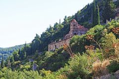 The Byzantine Monastery of Panagia Pantanassa at the ancient site of Mystras, Greece. The Byzantine Monastery of Panagia Pantanassa at the ancient hillside site royalty free stock photography