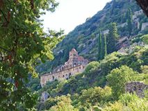 The Byzantine Monastery of Panagia Pantanassa at the ancient site of Mystras, Greece. The Byzantine Monastery of Panagia Pantanassa at the ancient hillside site stock photography