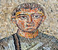Byzantine mosaic. Ancient byzantine and rare mosaic of a wealthy patron from the 4th century UNESCO listed floor of the Aquileia basilica in Italy Royalty Free Stock Photo