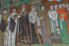 Byzantine Mosaic. Empress Theodora, wife of the byzantine emperor Justinian and actress, together with her retinue and ladies in waiting. Ancient byzantine Royalty Free Stock Photography