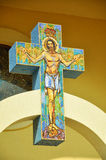 Byzantine mosaic on a cross with Jesus Royalty Free Stock Photos