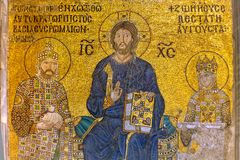 Byzantine mosaic figure Jesus on the wall Stock Photography