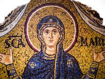 Byzantine mosaic on a gold background representing the Virgin Ma Stock Photography