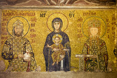 Byzantine Mosaic in Hagia Sophia. Byzantine mosaic of Virgin Mary and Jesus Christ with Emperor and Empress in the Hagia Sofia, Istanbul, Turkey royalty free stock photos
