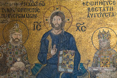 Byzantine mosaic in the interior of Hagia Sophia Royalty Free Stock Photo