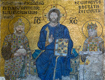 Byzantine mosaic in the interior of Hagia Sophia in Istanbul, Tu Stock Image