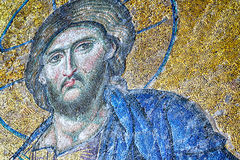Byzantine Mosaic of Jesus Christ in Hagia Sophia. 12th Century Byzantine mosaic of Judgement day with Jesus Christ in Hagia Sophia, Istanbul, Turkey Stock Image