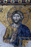 Byzantine Mosaic of Jesus Christ in Hagia Sophia. 12th Century Byzantine mosaic of Judgement day with Jesus Christ in Hagia Sophia, Istanbul, Turkey Royalty Free Stock Photography