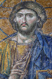 Byzantine Mosaic of Jesus Christ in Hagia Sophia. 12th Century Byzantine mosaic of Judgement day with Jesus Christ in Hagia Sophia, Istanbul, Turkey Royalty Free Stock Photos