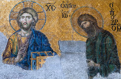 Byzantine mosaic in the old church Hagia Sophia in Istanbul, Tur Stock Image