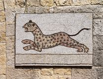 Byzantine mosaic representing a leopard running. Stock Photos