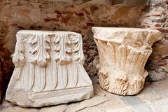 Byzantine ornaments in the town Mystras. Ornaments in the Byzantine town Mystras at the Greek peloponnese Royalty Free Stock Image