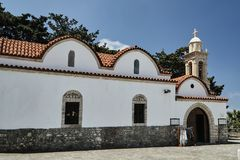 Byzantine Orthodox church with belfry. On the island of Rhodes stock photo