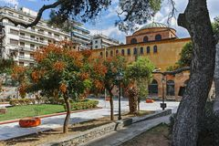 Byzantine Orthodox Hagia Sophia Cathedral in the center of city of Thessaloniki. THESSALONIKI, GREECE - SEPTEMBER 30, 2017: Ancient Byzantine Orthodox Hagia stock photo