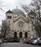 Byzantine and Romanesque Architecture. This is a Winter picture of Saint Clement Catholic Church located in the Lincoln Park neighborhood of Chicago, Illinois stock photo