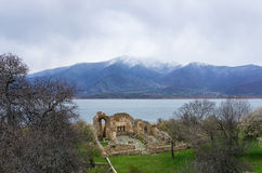 Byzantine ruins in Agios Achilios island, Small Prespa lake, Florina, Greece Royalty Free Stock Photos
