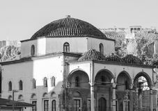 Temple in Athens. Byzantine stone temple in Athens in monochrome Royalty Free Stock Photo