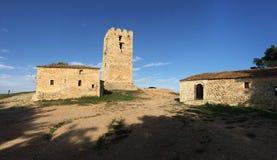 Byzantine Tower in Nea Fokea. Greece stock photography