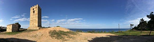 Byzantine Tower panorama. Byzantine Tower in Nea Fokea Greece stock image