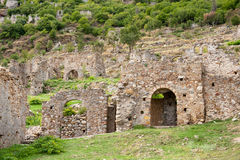 Byzantine town Mystras at the hill Royalty Free Stock Image