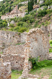 Byzantine town Mystras at the hill Royalty Free Stock Images