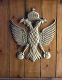 Byzantium. The symbol of the Byzantine empire on the door of a church in Alassa, Cyprus Stock Image