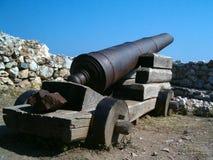 Byzantium cannon. A cannon in a byzantine castle, guarding the Aegean Sea Stock Image