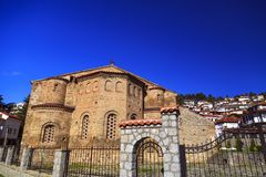 Byzantium church of St. Sofia in Ohrid. Exterior view of the Byzantium church of St. Sofia in Ohrid town, Macedonia stock photography