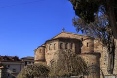Byzantium church of St. Sofia in Ohrid. Exterior view of the Byzantium church of St. Sofia in Ohrid town, Macedonia royalty free stock image