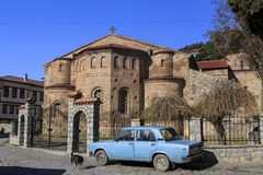 Byzantium church of St. Sofia in Ohrid. Ohrid, Macedonia - April 8, 2017: Exterior view of the Byzantium church of St. Sofia in Ohrid town, Macedonia royalty free stock photo