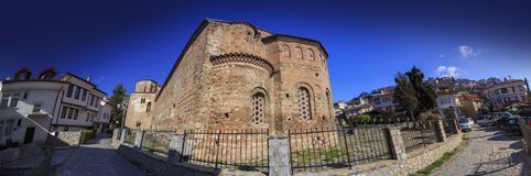 Byzantium church of St. Sofia in Ohrid. Ohrid, Macedonia - April 8, 2017: Exterior view of the Byzantium church of St. Sofia in Ohrid town, Macedonia stock images