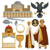 Byzantium history symbols heraldry architecture and religion emperor. Ancient Byzantium history symbols heraldry architecture and religion emperor vector stock illustration