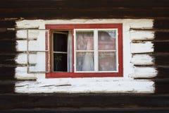 Bziny village in Orva region. Windows of a traditional log cabin, Orava region, Slovakia stock images