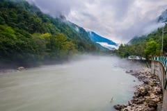 Bzyp flod, Abchazien Fotografering för Bildbyråer