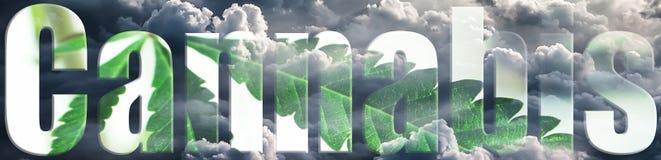 Cáñamo Logo With Clouds y letras interiores y exteriores de la hoja fotografía de archivo libre de regalías
