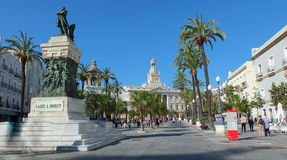 Cádiz Town Hall Square From The Statue Stock Image