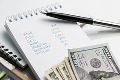 Cálculo da despesa pessoal ou conceito do dia de pagamento, li da escrita da mão imagens de stock royalty free