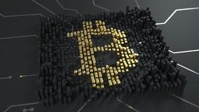 Cálculo de mineração da mistura e do bitcoin O sinal de moeda dos bitcoins está iluminando-se acima, produzindo acena ao redor Lo filme