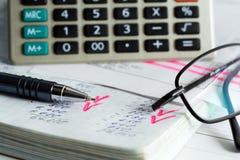 Cálculo de relatórios financeiros. imagens de stock royalty free