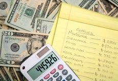 Cálculo de un presupuesto Foto de archivo libre de regalías