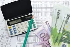 Cálculo del dinero Imagenes de archivo