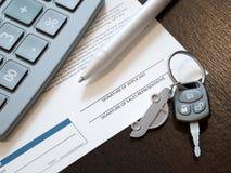 Cálculo do empréstimo automóvel imagem de stock